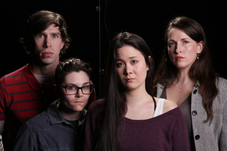 Photo Ian Johnston. Drew Highlands, Evelyn Dehais, Keiko Green, and Jana Hutchison.